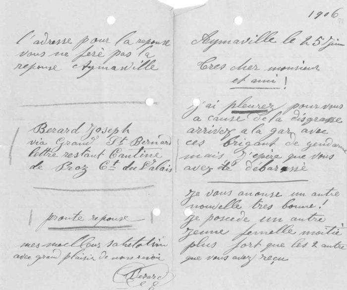 Brief von Berard an Mader. Er bedauerte, dass die St. Galler am Zoll eine saftige Polizeibusse bezahlen mussten.